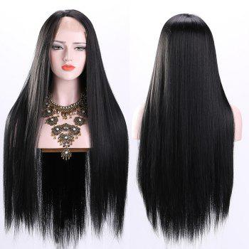 Free Part Ultra Long Straight Lace Front Synthetic Wig - BLACK BLACK