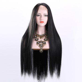 Free Part Ultra Long Straight Lace Front Synthetic Wig -  BLACK