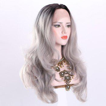 Long Middle Part Ombre Fluffy Wavy Synthetic Lace Front Wig - CHINCHILLA