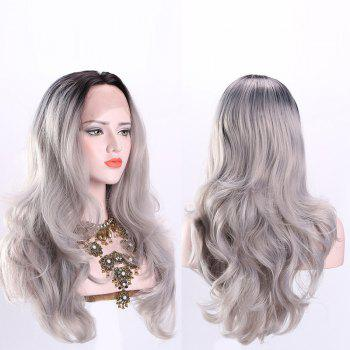 Long Middle Part Ombre Fluffy Wavy Synthetic Lace Front Wig - CHINCHILLA CHINCHILLA