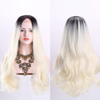 Middle Part Long Wavy Ombre Synthetic Lace Front Wig - OFF-WHITE OFF WHITE