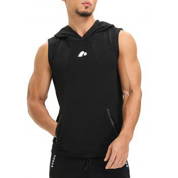 Openwork Panel Zip Pockets Vest - BLACK L