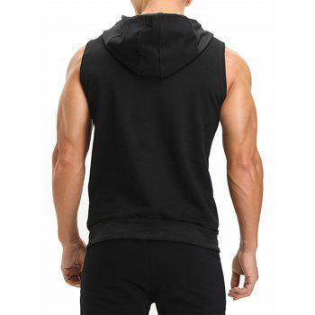 Openwork Panel Zip Pockets Vest - BLACK M