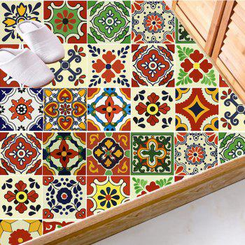 European Nonslip Floor Decals Flower Wall Tile Stickers Set - COLORFUL 8*8 INCH