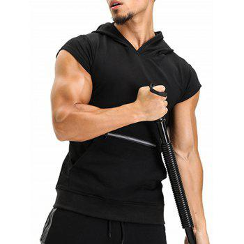 Hooded Pouch Pocket Zipper Vest - BLACK BLACK