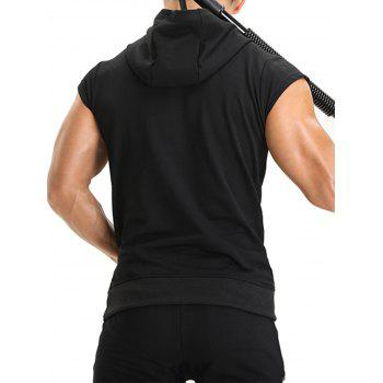 Hooded Pouch Pocket Zipper Vest - BLACK XL