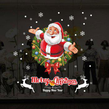 Christmas Wreath Santa Pattern Wall Art Stickers - COLORMIX 50*70CM