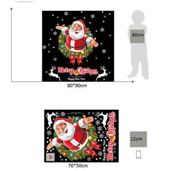 Christmas Wreath Santa Pattern Wall Art Stickers - 50*70CM 50*70CM