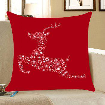 Christmas Stars Elk Printed Linen Pillow Case - RED RED