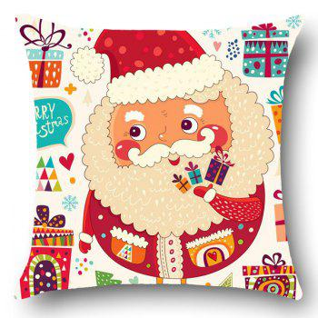 Colorful Santa Claus Pattern Linen Pillow Case - W18 INCH * L18 INCH W18 INCH * L18 INCH