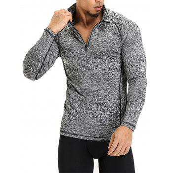 Raglan Sleeve Half Zip T-shirt - GRAY 2XL