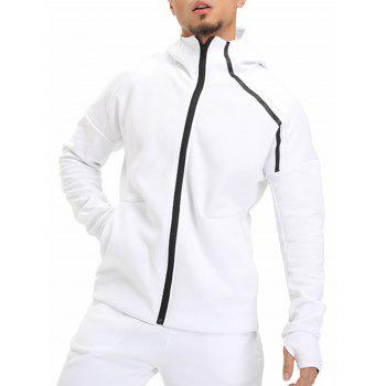 Drop Shoulder Linellae Zip Up Hoodie - WHITE M