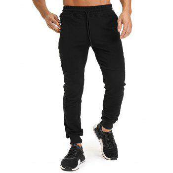 Zip Pockets PU Leather Edging Jogger Pants - BLACK L