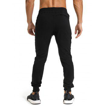 Zip Pockets PU Leather Edging Jogger Pants - BLACK 2XL