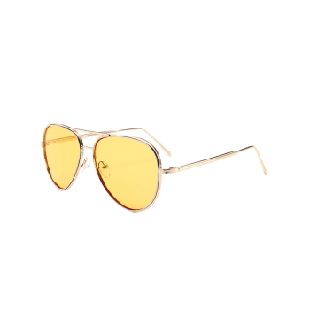 UV Protection Metal Frame Crossbar Sunglasses - LIGHT YELLOW