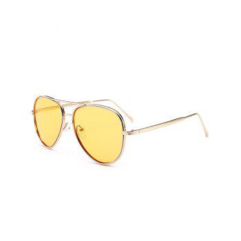 UV Protection Metal Frame Crossbar Sunglasses - LIGHT YELLOW LIGHT YELLOW