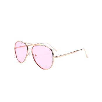 UV Protection Metal Frame Crossbar Sunglasses -  PINK