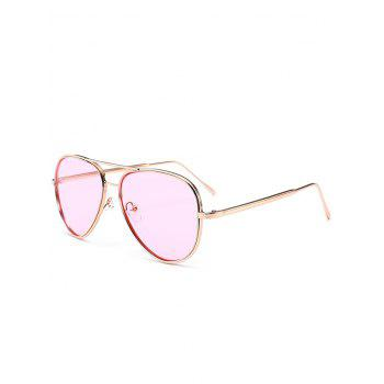 UV Protection Metal Frame Crossbar Sunglasses - PINK PINK