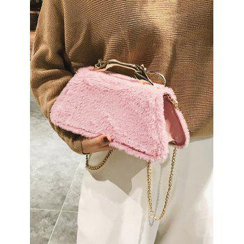 Metal Handle Faux Fur Handbag - PINK