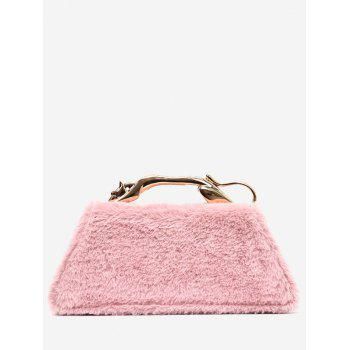 Metal Handle Faux Fur Handbag - PINK PINK
