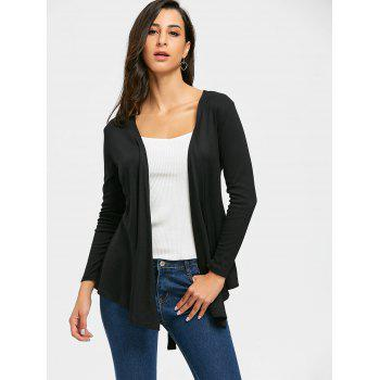 Neckarless Tie Up High Low Cardigan - Noir L