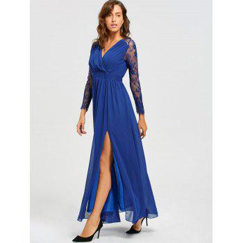 Lace Long Sleeve V-neck Floor Length Dress - BLUE S
