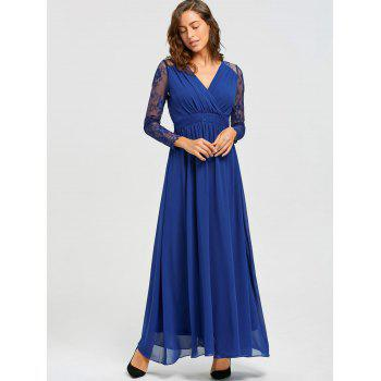 Lace Long Sleeve V-neck Floor Length Dress - BLUE BLUE