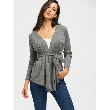 Neckarless Tie Up High Low Cardigan - Gris 2XL