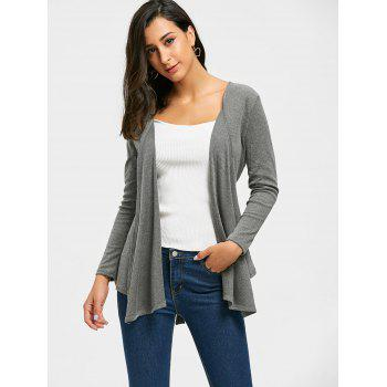 Neckarless Tie Up High Low Cardigan - gris L