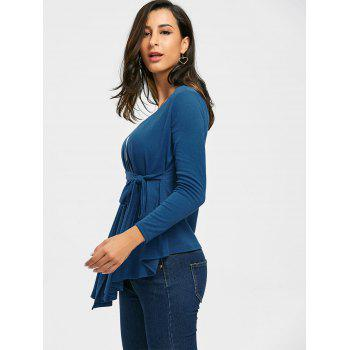 Neckarless Tie Up High Low Cardigan - Paon Bleu 2XL