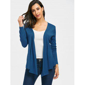 Neckarless Tie Up High Low Cardigan - Bleu canard XL