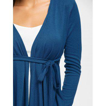 Neckarless Tie Up High Low Cardigan - Bleu canard L