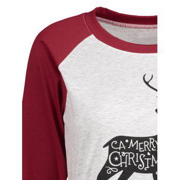 Christmas Elk Letter Print Raglan Sleeve Tee - WINE RED XL