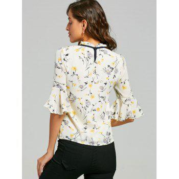 Ruffle Neck Floral Blouse - YELLOW S