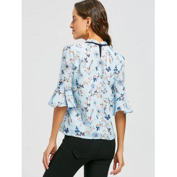 Ruffle Neck Floral Blouse - S S
