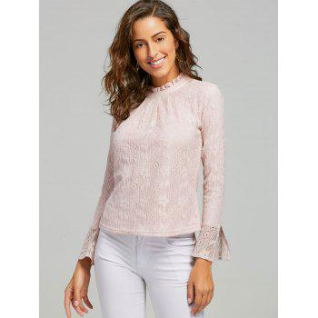 Lace Ruffle Neck Blouse - PINK S