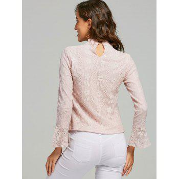 Lace Ruffle Neck Blouse - PINK XL