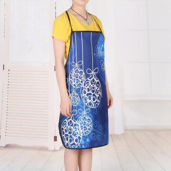 Christmas Balls Print Waterproof Apron - BLUE 80*70CM