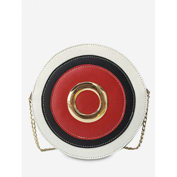 Color Block Grommet Chain Crossbody Bag - RED RED