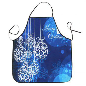 Christmas Balls Print Waterproof Apron - BLUE BLUE