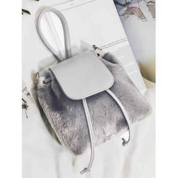 Drawstring Fluffy Cross Body Bag -  GRAY