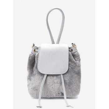 Drawstring Fluffy Cross Body Bag - GRAY GRAY