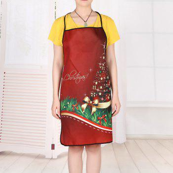 Christmas Star Tree Print Waterproof Apron - RED 80*70CM
