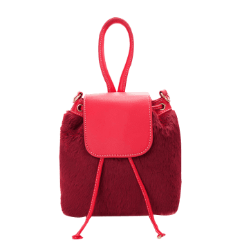 Drawstring Fluffy Cross Body Bag -  RED
