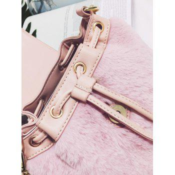 Drawstring Fluffy Cross Body Bag - PINK