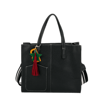 2 Pieces Tassel Letter Handbag Set - BLACK