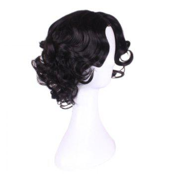 Center Parting Medium Curly Princess Snow White Cosplay Synthetic Wig -  BLACK