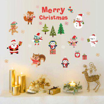 Christmas Santa Animals Pattern Wall Art Stickers - COLORMIX 45*60CM