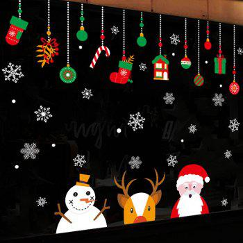 Christmas Santa Deer Pattern Wall Art Stickers - COLORMIX COLORMIX