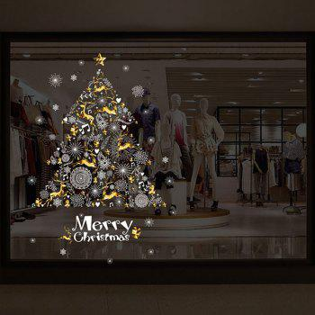 Christmas Deers Tree Pattern Wall Art Stickers - COLORMIX 60*90CM